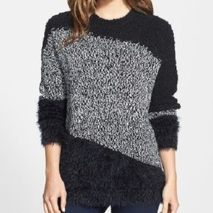 VINCE CAMUTO Blk/White Textured Intarsia Sweater